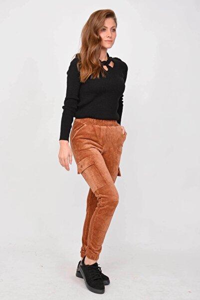Mossta Kadın Taba Kadife Kargo Pantolon