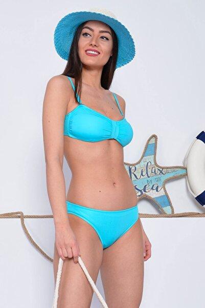 Mossta Kadın Turkuaz Full Lycra Straplez Bikini