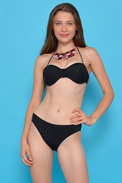 Mossta Kadın Siyah Straplez Destekli Bikini