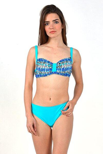 Mossta Kadın Turkuaz Full Lycra Balenli Dekolte Bikini Takım