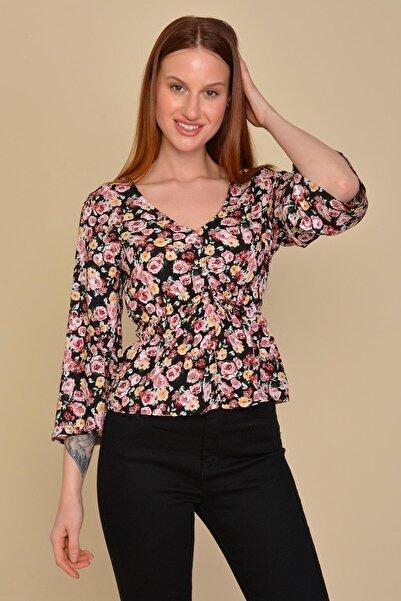 Mossta Kadın Siyah Bel Lastikli Çiçekli Bluz