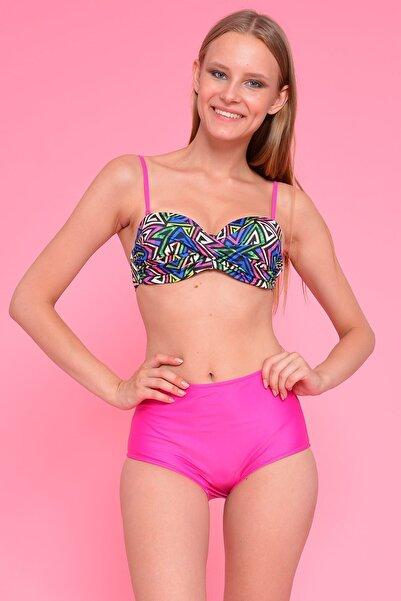 Mossta Kadın Lacivert Full Lycra Prizma Yüksek Bel Bikini