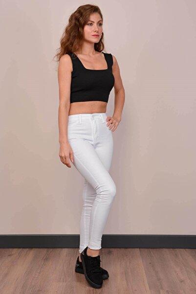 Mossta Kadın Beyaz Yüksek Bel Gabardin Pantolon