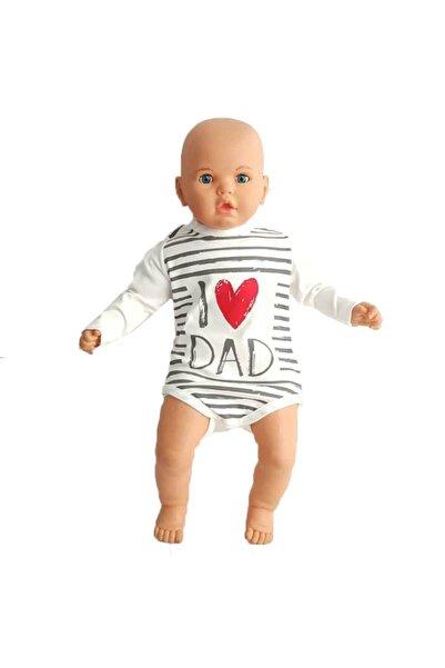 bebegen Siyah Beyaz Çizgili I Love Dad Baskılı Zıbın
