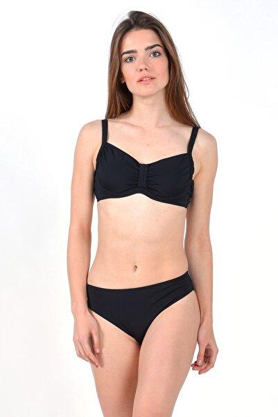 Mossta Kadın Siyah Full Lycra Balenli Desteksiz Bikini