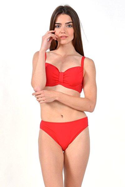 Mossta Kadın Nar Çiçeği Full Lycra Balenli Desteksiz Bikini