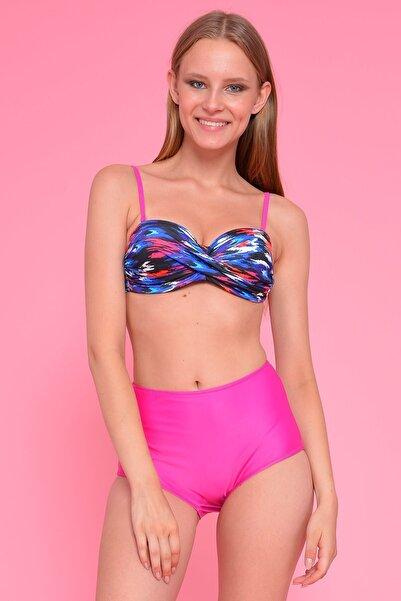 Mossta Kadın Pembe Full Lycra Art Design Yüksek Bel Bikini
