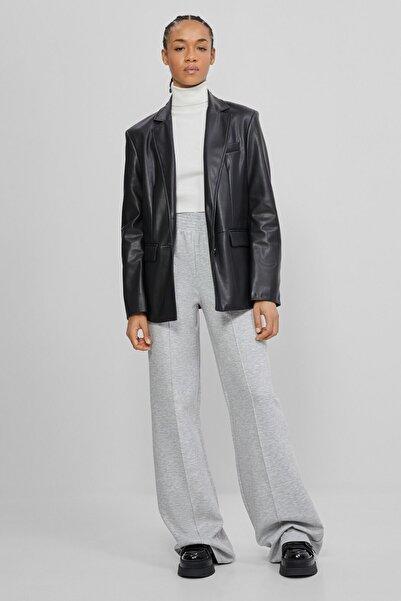 Bershka Kadın Gri Wide Leg Penye Pantolon