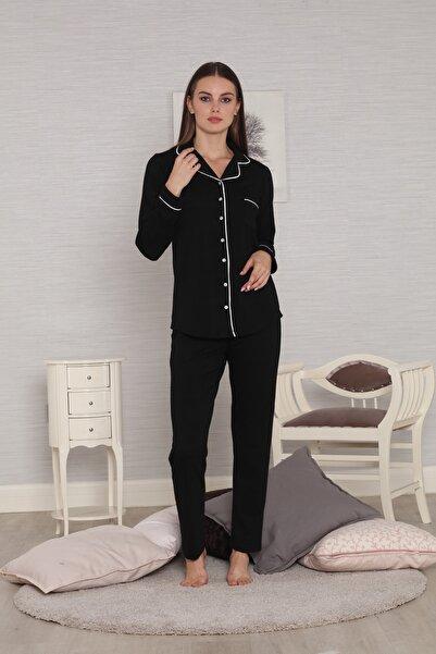 Tuba Siyah Biyeli Önden Düğmeli Ribana Örgü Penye Kışlık Kadın Pijama Takımı