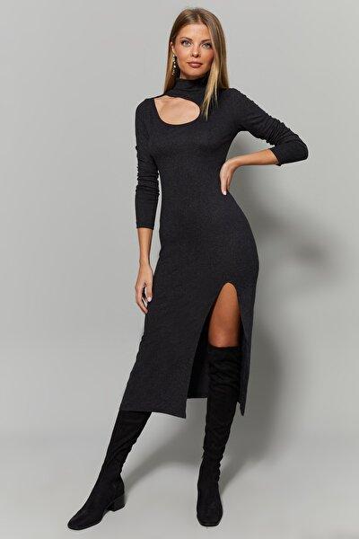 Cool & Sexy Kadın Antrasit Yaka Pencereli Yırtmaçlı Elbise Yİ1984