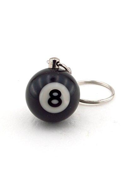 Solfera Bilardo Topu 8 Numara Küçük Boy Siyah Anahtarlık Kc839