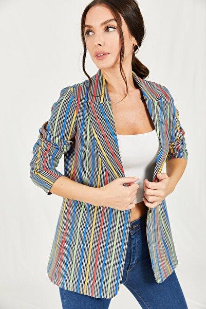 armonika Kadın Renkli Kazayağı Ve Çizgi Desenli Tek Düğmeli Ceket ARM-21K001024