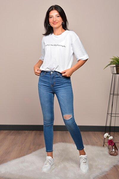 Mossta Kadın Mavi Yüksek Bel Likralı Pantolon