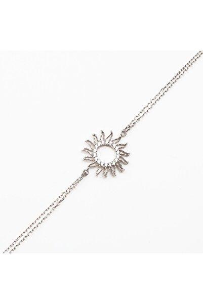 Afrodit Silver Kadın Beyaz Güneş Gümüş Bileklik