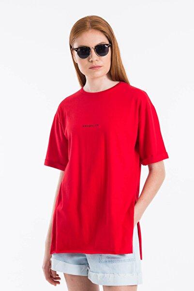 Mossta Kadın Kırmızı Yırtmaçlı Lazer Kesim T-shirt