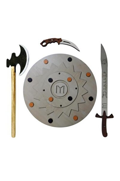 Ahtek 4'lü Kalkan Balta Kılıç Karambit Ahşap Oyuncak Seti
