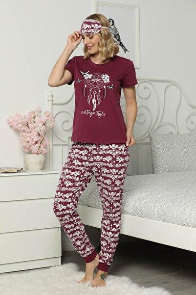 Mossta Kadın Mürdüm Çiçek Baskılı Kısa Kol Pijama Takım