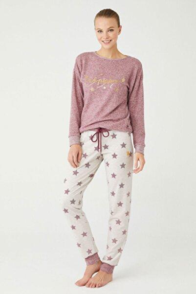 U.S. Polo Assn. Kadın Mor Yıldızlı Pijama Takımı