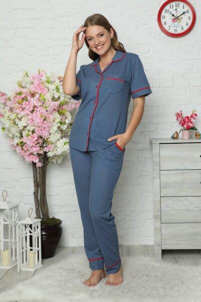 Mossta Kadın Lacivert Düğmeli Kısa Kol Pijama Takımı