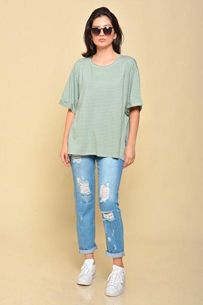Mossta Çizgili Mint Boyfriend T-shirt