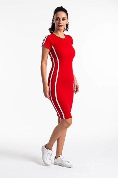 Mossta Kadın Kırmızı Kısa Kol Kaşkorse Elbise