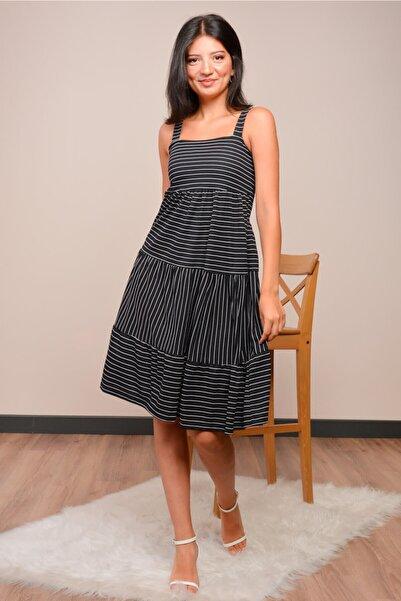 Mossta Kadın Siyah Askılı Çizgili Elbise