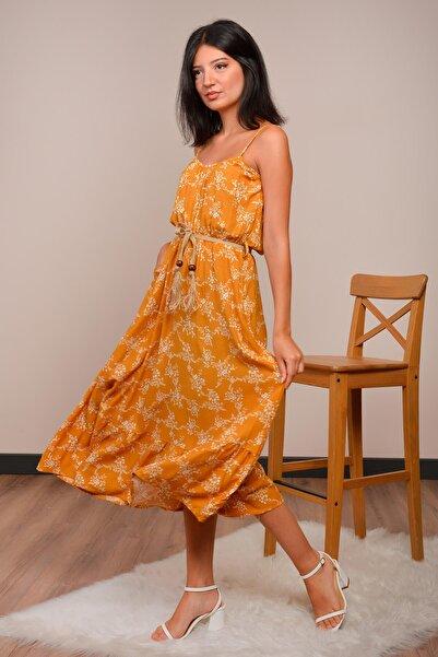 Mossta Kadın Hardal İp Askılı Elbise
