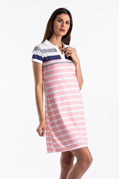 Mossta Kadın Pembe Çizgili Yazlık Elbise