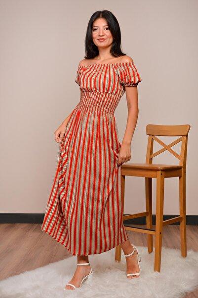 Mossta Kadın Kiremit Madonna Yaka Gipeli Elbise