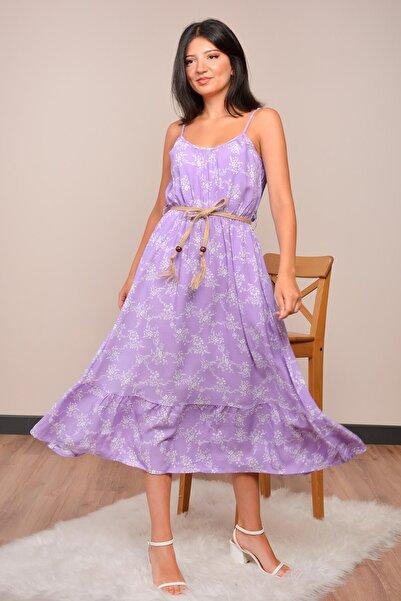 Mossta Kadın Lila İp Askılı Elbise