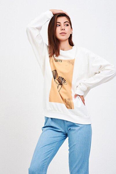 Mossta Kadın Beyaz Baskılı Sweatshirt