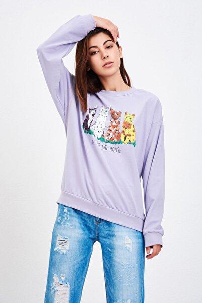 Mossta Kadın Lila Kedi Baskılı Sweatshirt