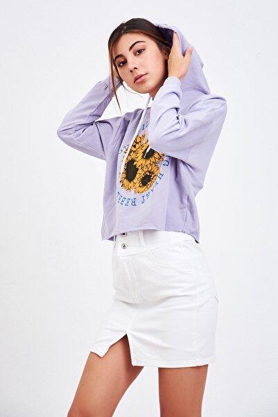 Mossta Kadın Lila Baskılı Kısa Sweatshirt