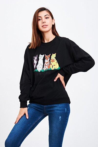 Mossta Kadın Siyah Kedi Baskılı Sweatshirt