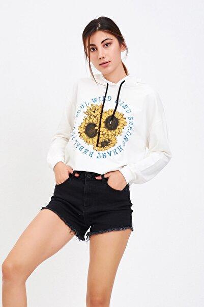 Mossta Kadın Beyaz Baskılı Kısa Sweatshirt