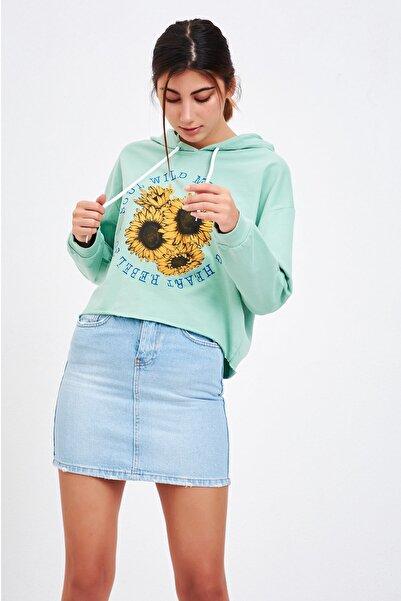 Mossta Kadın Mint Baskılı Kısa Sweatshirt