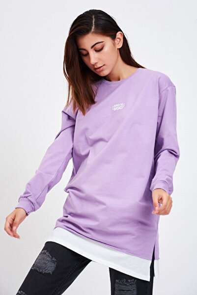 Mossta Kadın Lila Backto Basics Nakışlı Tunik Sweatshirt