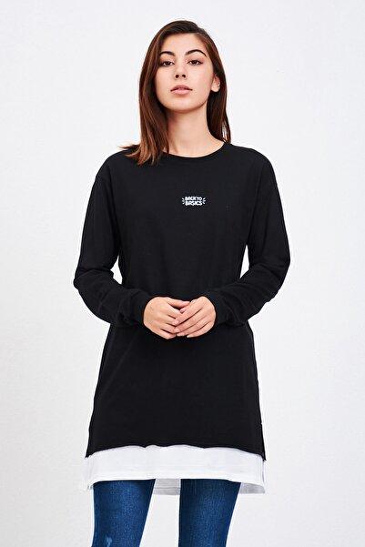Mossta Kadın Siyah Backto Basics Nakışlı Tunik Sweatshirt