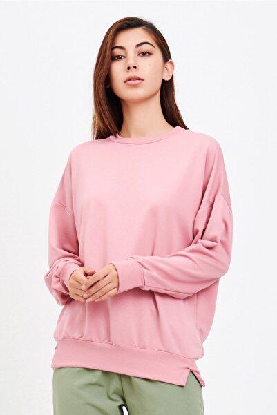 Mossta Kadın Pembe Basic Salaş Sweatshirt