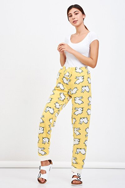 Mossta Kadın Sarı Tavşan Desen Peluşlu Polar Pijama