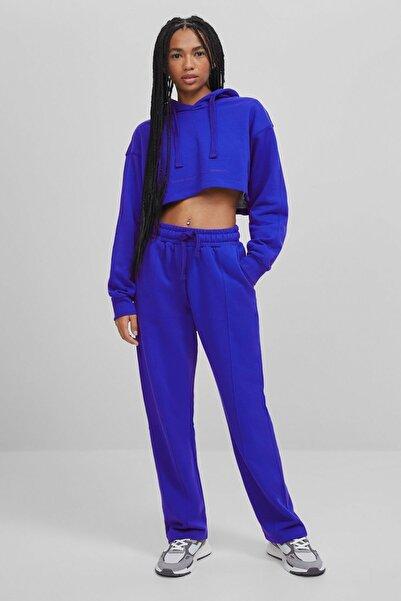 Bershka Kadın Mavi Pamuklu Pantolon