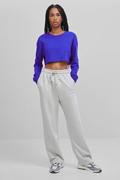 Bershka Kadın Gri Pamuklu Pantolon