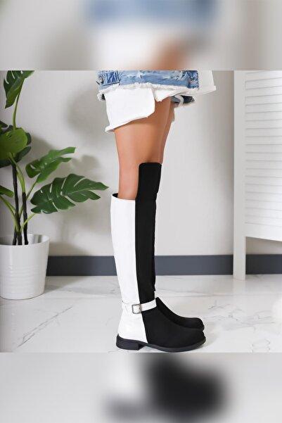 Limoya Ava Siyah Süet Beyaz Kırışık Rugan Kemer Detaylı Casual Çizme