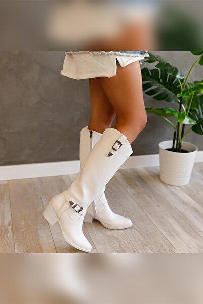 Limoya Joyce Beyaz Tokalı Western Çizme