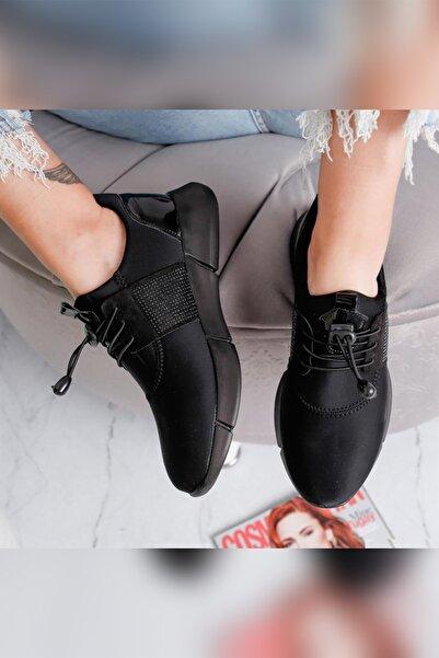 Limoya Jadyn Siyah Dalgıç Kumaş Taş Detaylı Streç Comfort Ayakkabı