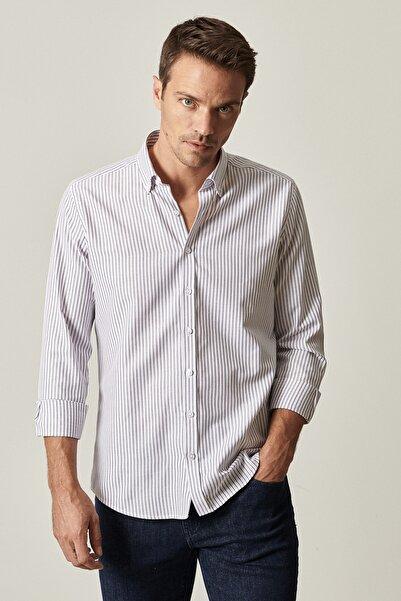 ALTINYILDIZ CLASSICS Erkek Beyaz-Siyah Tailored Slim Fit Dar Kesim Düğmeli Yaka Çizgili Gömlek