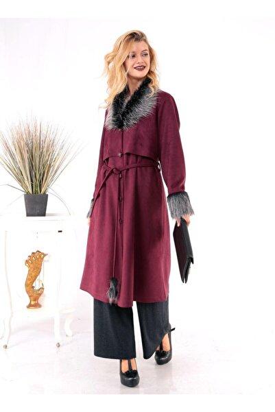 Mankens Fashion Kadın Bordo Kürklü Trençkot Pardesü