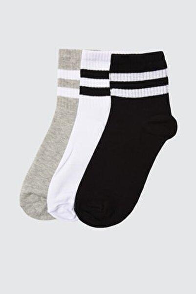 Beyaz Şerit Detaylı 3'lü Paket Örme Çorap TWOAW20CO0054