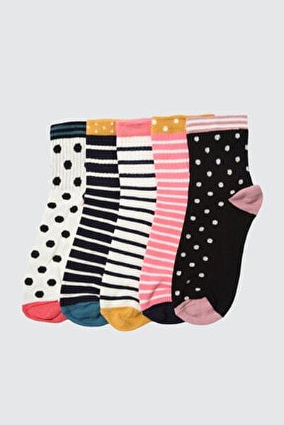 Çok Renkli Baskılı 5'li Paket Örme Çorap TWOAW21CO0138