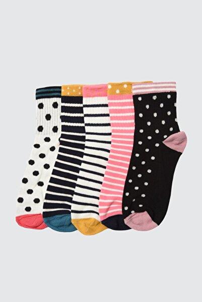 TRENDYOLMİLLA Çok Renkli Baskılı 5'li Paket Örme Çorap TWOAW21CO0138